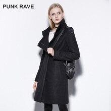 Punk Rave Зима Панк Водолазка Сплошной Цвет Тонкий Шерстяной Верхняя Одежда Женский Средней длины зимнее пальто женщин PY-169