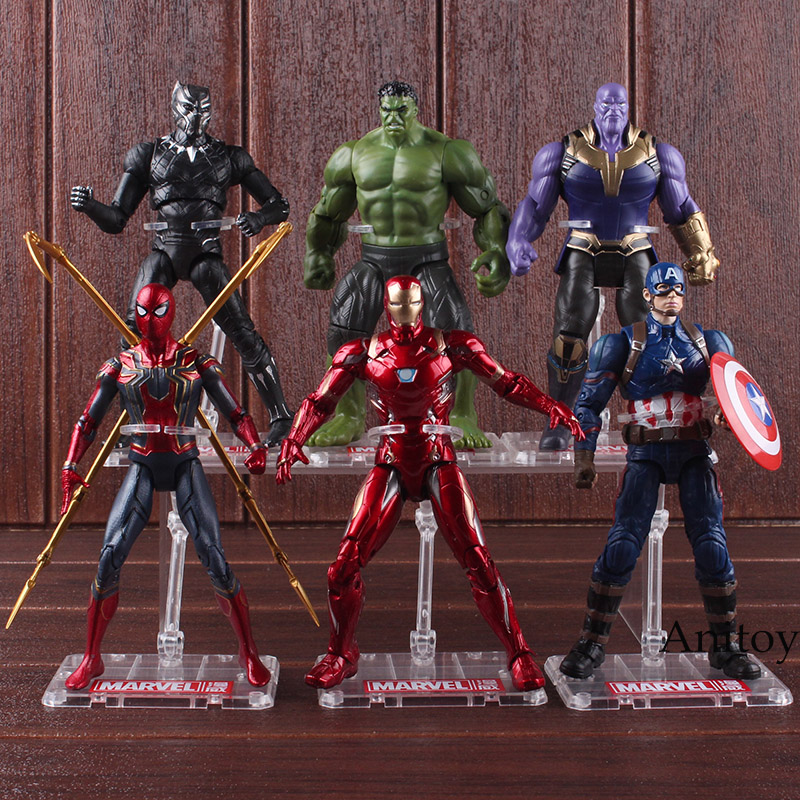 Avengers Infinity War Thanos Hulk Black Panther Spiderman Captain America Iron Man Action Figure Marvel Collectible Model Toys new arrival novelty marvel movie minifigures action figures toys fatty version avengers 2 iron man hulk captain america fcz 6