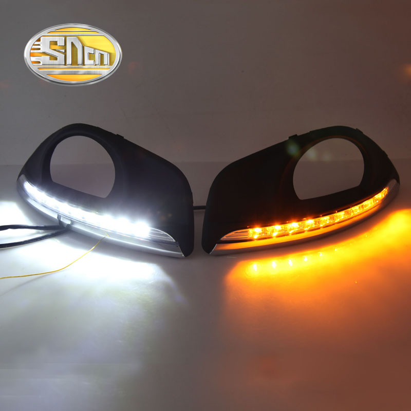 SNCN LED Daytime Running Light For Hyundai Santa Fe 2010 2011 2012,Car Accessories Waterproof ABS 12V DRL Fog Lamp Decoration dongzhen car led drl daytime running light for hyundai santa fe 2010 2012 turn signal light with fog lamp hole relay waterproof