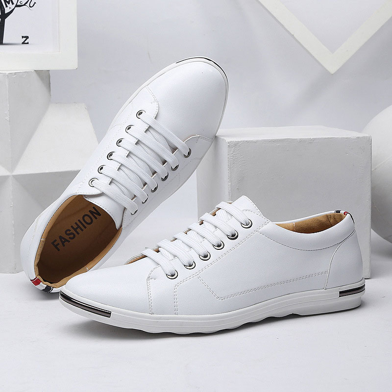 Casual Shoes Men 2019 New Hot Fashion Pu Leather Male Solid Shoes Comfortable Lace-up Flats Men Sneakers Zapatos De Hombre