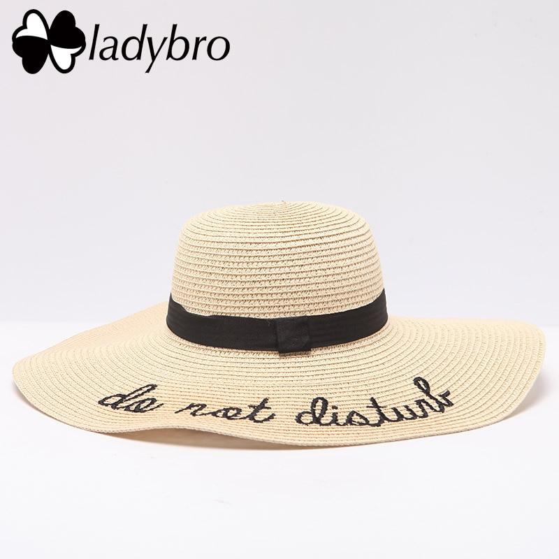 Ladybro Women Sun Hat Summer Beach Straw Hat Do Not Disturb Sombrero Sun Visor Wide Brim Ladies Hat Foldable Chapeau Femme