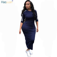 HAOYUAN Women plus size dress vestidos 2018 summer dresses striped half sleeve street wear beach robe sexy midi bodycon dress