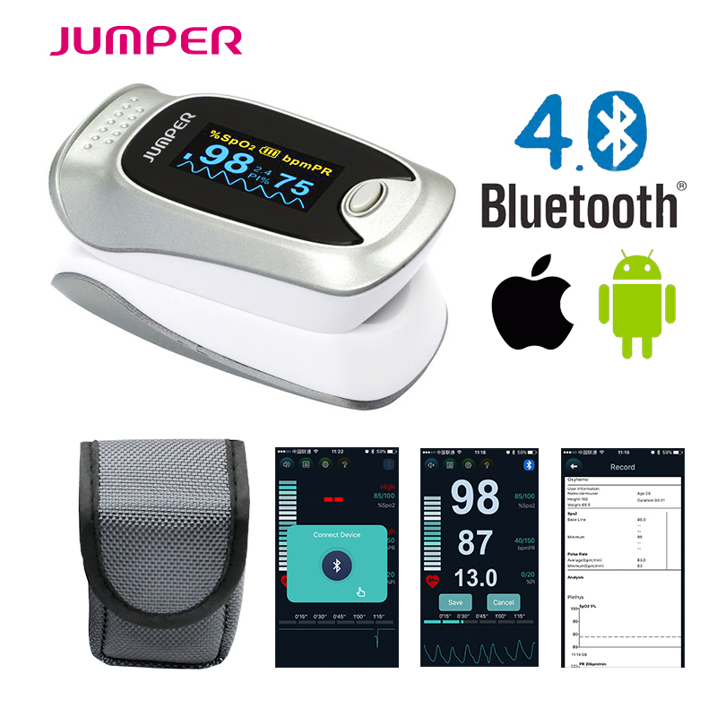 IOS Andiod mobile APP Bluetooth 4.0 OLED Fingertip Pulse Oximeter Finger Oximetro pulso Blood Oxygen SpO2 Saturation Monitor color oled wrist fingertip pulse oximeter with software spo2 monitor