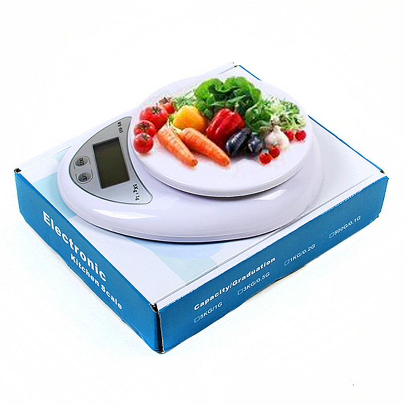 Hot Sale Weighing ScalesTools Balance Household Weight 5Kg x 1g Digital Kitchen Scale Diet Food Compact LED Electronic Steelyard 5kg 5000g 1g digital scale kitchen food diet postal scale electronic weight scales balance weighting tool led electronic wh b05