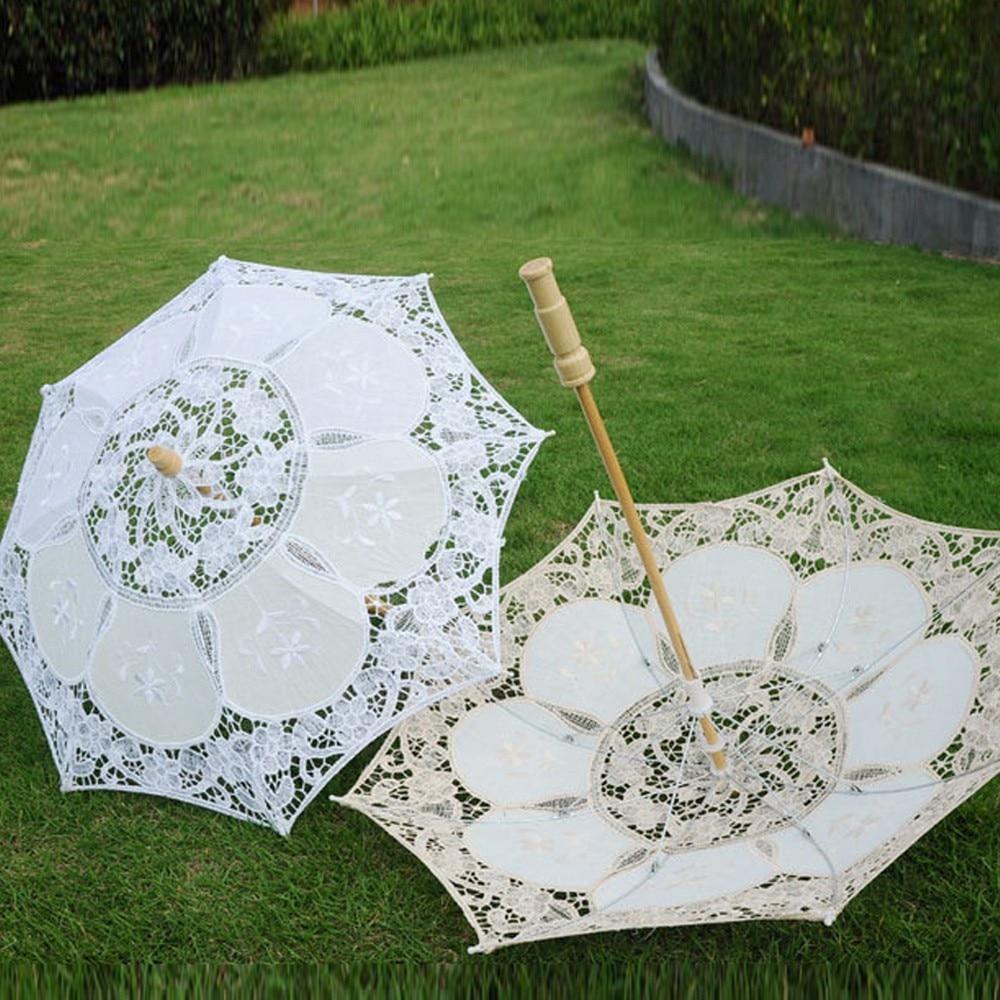 1pc Women Handmade Parasol Lace Umbrella Party Wedding Bridal Shelter Deco#shw
