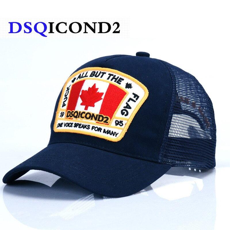 DSQICOND2 Maple Leaf Mesh Baseball Cap DSQ2 Letters High Quality Men Women Cap Custom Design ICON Logo Cap Bonnet Homme Dad Hat