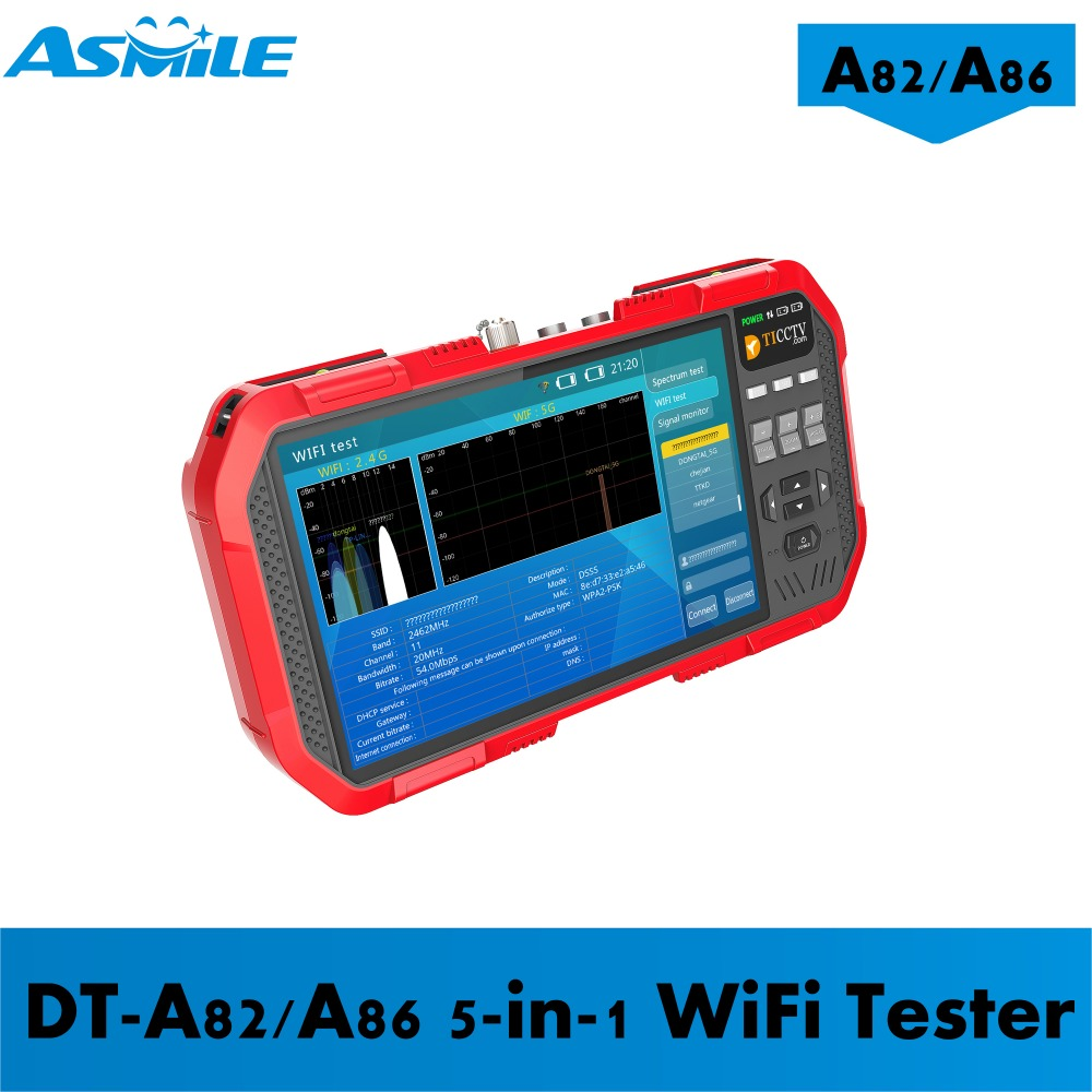 A86 7inch Support H.264& H.265& 4K Cameras; TVI 8MP & CVI 8MP & AHD 5MP Cctv Tester With 5-in-1 WiFi Tester
