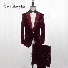 Gwenhwyfar настоящие Костюмы комплект из 2 предметов, бархатные костюмы Стильный бордовый Королевский синий черный фиолетовый свадебный жених Стройный смокинг