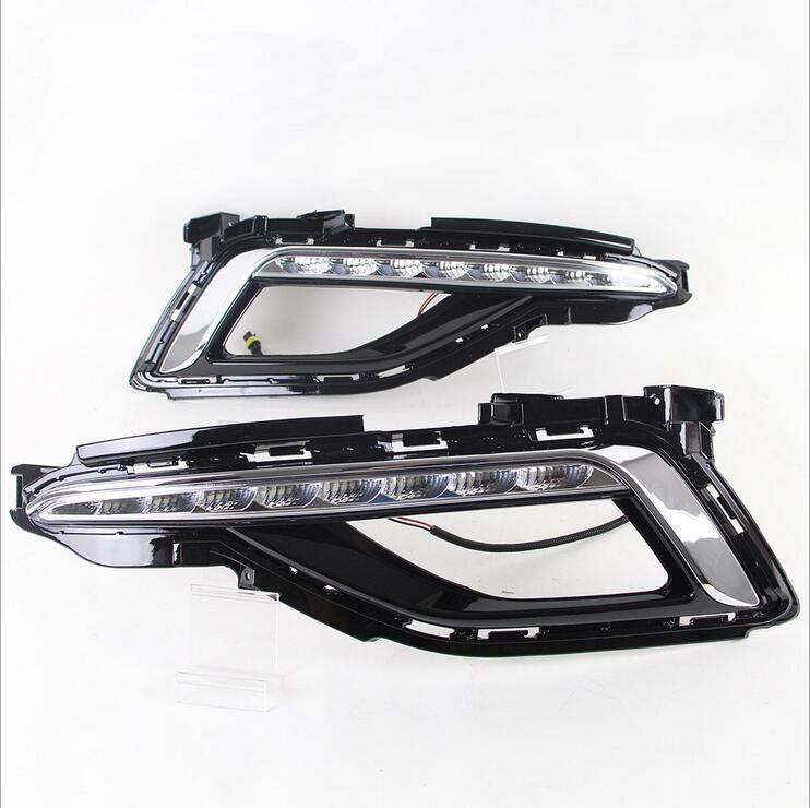 ФОТО Hireno Super-bright LED Daytime Running Light for Hyundai Sonata 2010 2011 2012 2013 2014 2015 2016 17 Car LED DRL fog lamp 2PS