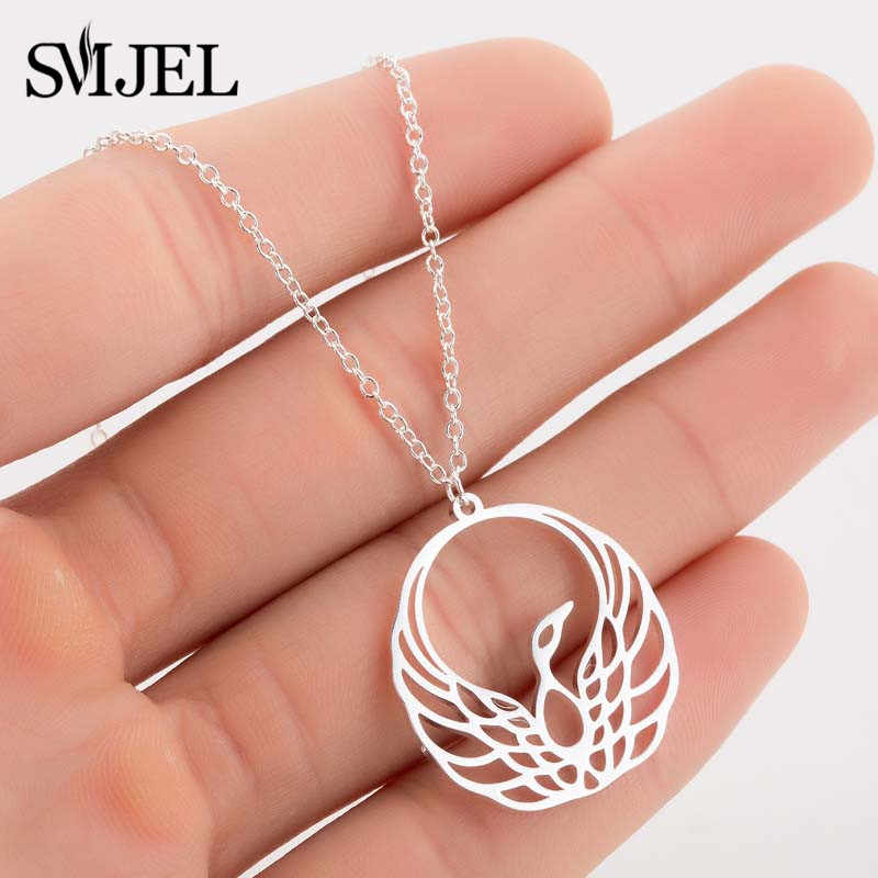 SMJEL Fashion Animal Jewelry Bohemia Bird Pendants Necklaces Collares Bird Phoenix Necklace Handmade Gift For Fans