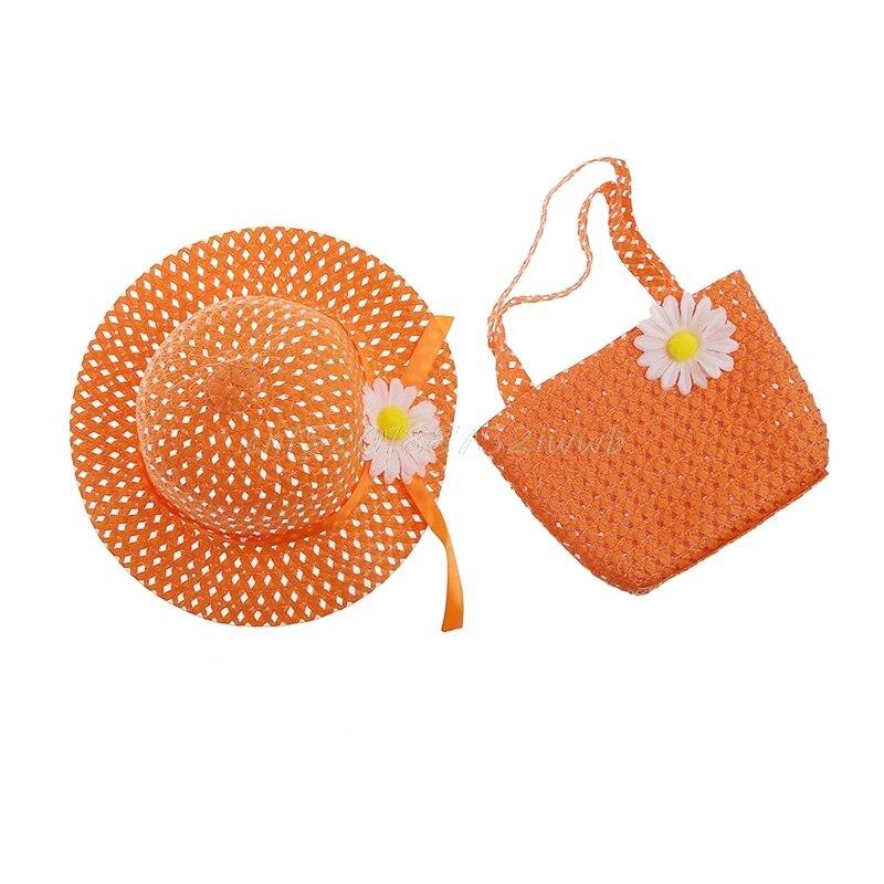 Детские Детская одежда для девочек цветок соломенная шляпа от солнца летние пляжные Кепки и сумки набор # T026 #