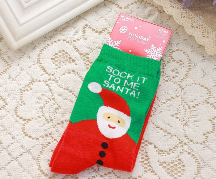 cotton christmas stockings couple cute elk snowflakes santa claus socks for men and women christmas socks with gift boxes in party favors from home - Christmas Stockings For Men