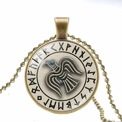 Gorąca Vegvisir Viking kompas wisiorek naszyjnik biżuteria szkło naszyjnik kaboszonowy mężczyzn i kobiet Viking runiczne naszyjniki