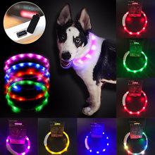 LED Dog Collar Light USB Rechargeable Glowing Dog Collars Luminous Pet Flash Night Charging Collar for Small Medium Large DogD30(China)