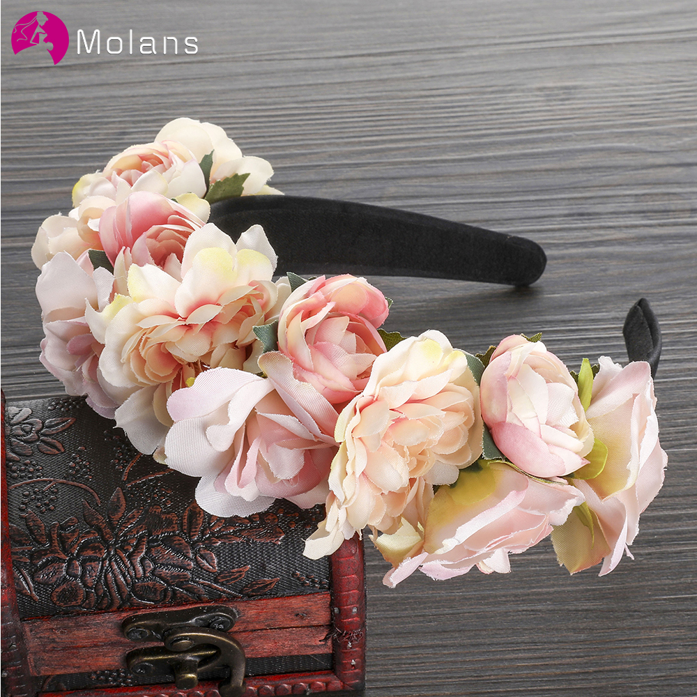 MOLANS Flower Crown Headband For Bride Wedding Accessories Florals Hoop Bezel Wreath Bridesmaid Headwear