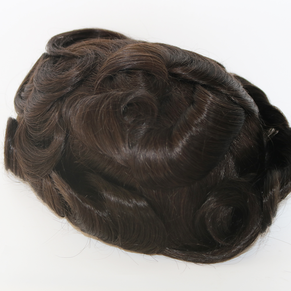 Eversilky Grey Hair Men Thin Skin Toupee Natural Looking Indian Remy Hair Clear Poly Back Human Men Hair