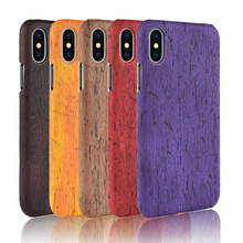 For iphone X Case Hard PC+PU Leather Retro wood grain Phone Cover Luxury Wood for iphoneX