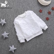 Горячая продажа 2016 новых осенью новорожденных девочек детская одежда повседневная девушки белые кофты о-образным вырезом свежие цветы полный рукавами толстовки
