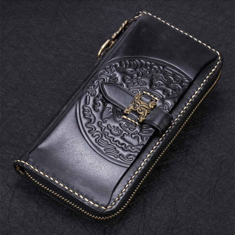 Black Stone Grain Cow Leather Wallets Embossing Classics Hasp Bag Purses Women Men Long Clutch Wallet Card Holder Phone Pocket new design hasp wallets cute pokemon go wallet pocket monster purses pikachu wallets cartoon children best present wallets