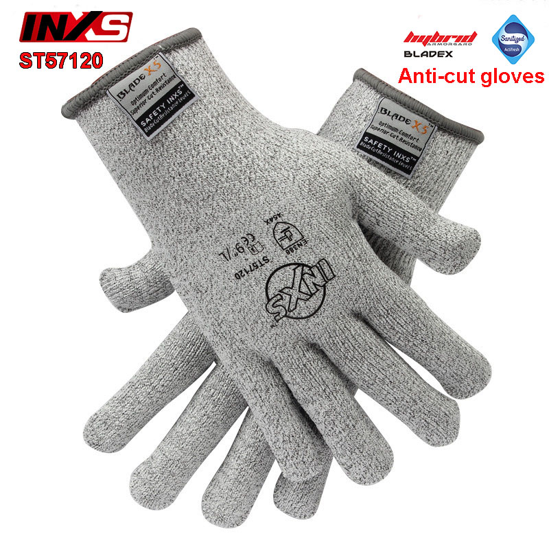 цена на SAFETY INXS Anti-cut gloves Level 5 Antibacterial Accessible food anti cut gloves BladeX fiber flexible mechanics gloves