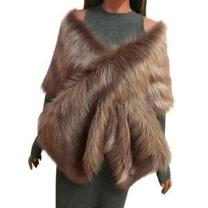 Image 3 - MIARHB kobiety szalik sztuczne futro z lisa długi szal Wrap wzruszając ramionami szalik Pashmina ślubne zimowe grube ciepłe stola echarpe hiver femme