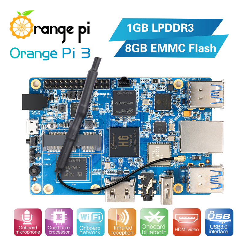 Orange Pi 3 H6 1GB LPDDR3 8GB EMMC Flash Gigabyte AP6256 Bluetooth5 0 4 USB3 0