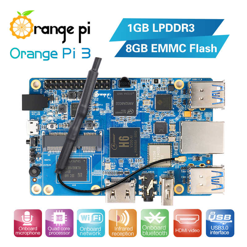 Оранжевый Pi 3 H6 1GB LPDDR3 + 8GB EMMC Flash Gigabyte AP6256 Bluetooth 5,0 4 * USB3.0 Поддержка Android 7,0, Ubuntu, Debian