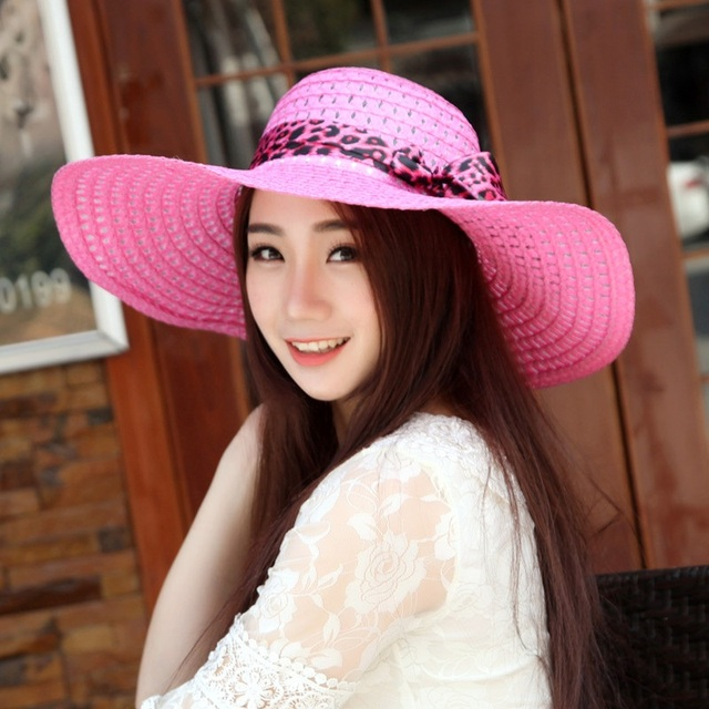 46cacaf9 Women Floppy Foldable Big Bowknot Straw Sun Hat Roll Up Wide Large Brim  Summer Beach Cap Sun Protection 17 colors