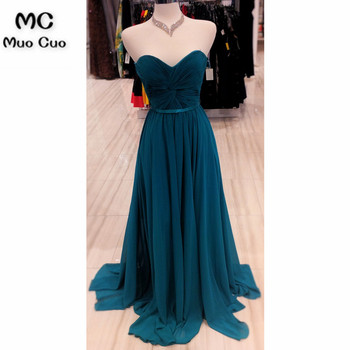2018 Teal Formal Evening Prom Dresses with Pleat Sweetheart Sweep Train Chiffon Evening Party Dress for Women фото