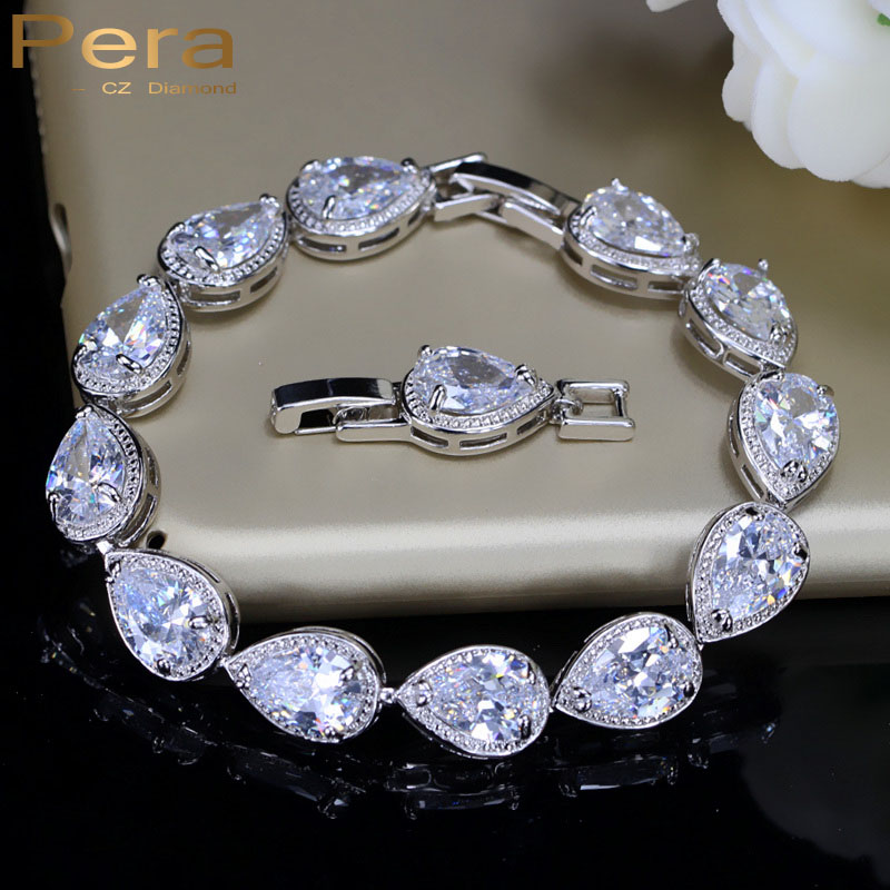 Pera Luxury Wedding Party Accessories White Gold Color Big Water Drop Cubic Zirconia Armband & armband för brudtärna B001
