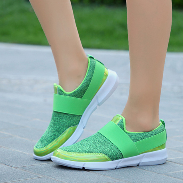 Spring Autumn Women Slip On Loafers Ladies Casual Comfortable Flats Female Breathable Stretch Cloth Shoes Fashion Zapatillas 3