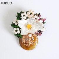 Jiuduo天然パールフラワーブローチ女性2017ファッション自然石ブローチピンヴィンテージバウヒニアスカーフバックルペン