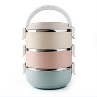 Macaroon 4 Layers Stainless Steel Japanese Lunch Boxs Container For Food Picnic Bento Box Portable Dinnerware Sets