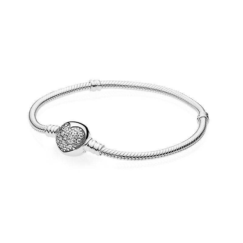 High Quality Silver Plated Snake Chain Bracelet Crystal Heart-shaped Flashing Paved Buckle Fit Bracelets Women Jewelry