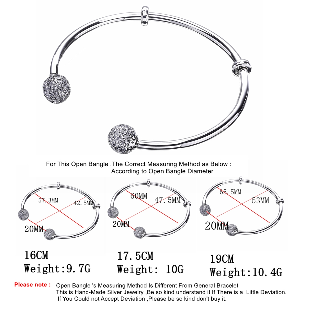 a1fa7257310 Slovecabin 2017 New Unique Moment Open Bangle Bracelet For Women 925  Sterling Silver Pave Stone Open Bangle For Bead DIY Jewelry-in Bracelets &  Bangles from ...