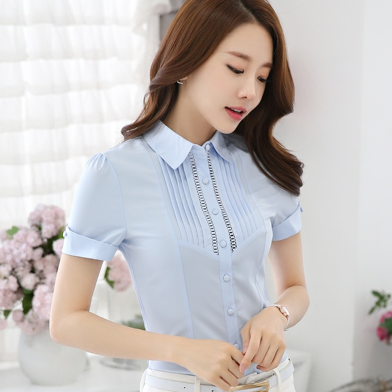 Women Blouse 2017 Casual Style OL Short Sleeved White Shirt Front Overalls Striped Shirt Slim Lady Occupation Summer 864i 30