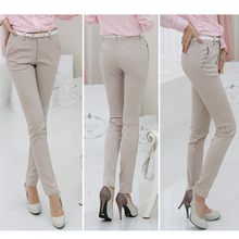Spring Autumn New Fashion Mid-waist Pencil Pants for Women Office OL Style Work Wear Skinny Candy Color Trousers