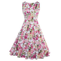 2017 Summer Vintage Dresses Print Floral A Line O Neck 1950s Style Elegant Party Dress Patchwork