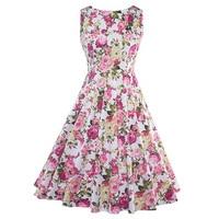 2017 Summer Vintage Dresses Print Floral A Line O Neck 1950s Style Elegant Party Dress Patchwork