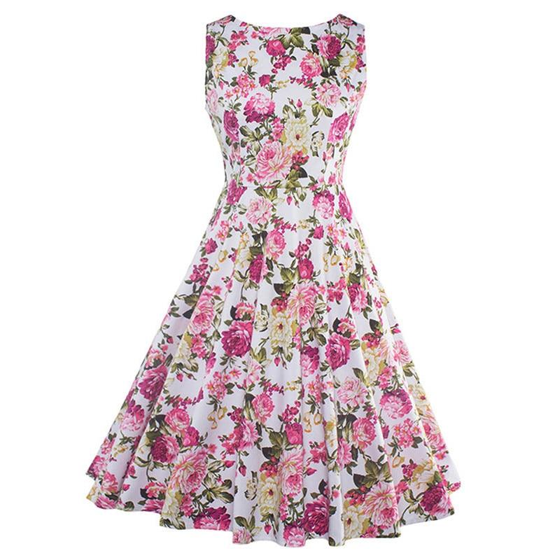 2017 Summer Vintage Dresses Print Floral A Line O Neck 1950s Style Elegant Party Dress Patchwork Sleeveless Luxury Retro Dresses