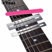 TSAI 3 Pcs/Set Stainless Steel Guitar String Grinding Tools Repairing Tool Set Fretboard Guard ProtectIve Shim Fret Wire File