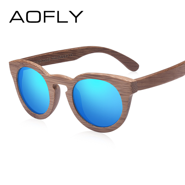 9abffe5edc AOFLY Fashion Polarized Sun Glasses Bamboo Sunglasses Men Women Handmade  Bamboo Frame Brand Design Oval Style Mirror Lens AF602