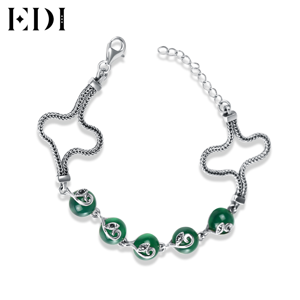 EDI 925-Sterling-Silver DIY Green Chalcedony Agate S925 Bracelet For Women Round Stone Bangles Bijoux Pulseiras Fine Jewelry все цены