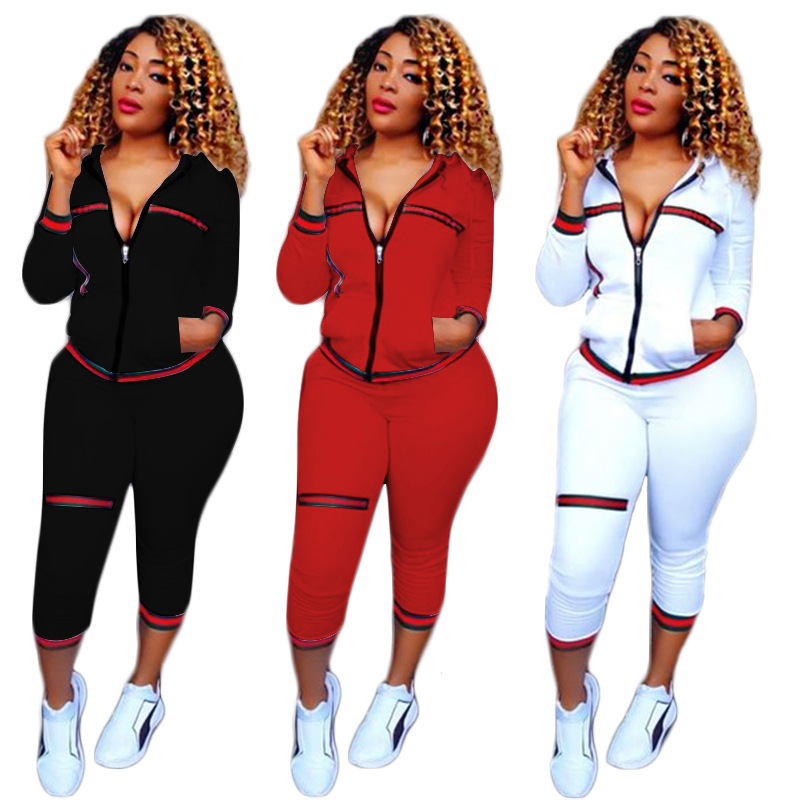 New Women's Sports Hoodie Women's Fashion Casual Sports Tops and Pants Two-piece Ribbon Rib Print Sports Fitness Long Sleeve Set