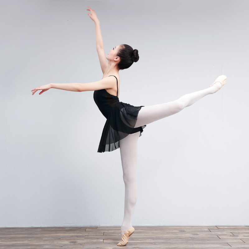 Adult One-piece Ballet Leotard Dress Women Ladies Sleeveless Gymnastics Ballet Dance Leotard With Mesh Skirts Ballerina Costumes