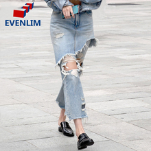 EVENLIM Denim Irregular Jeans Woman Vintage Hollow out Ripped Blue Jeans Pants Summer Streetwear Hole Jeans female capris DRT356
