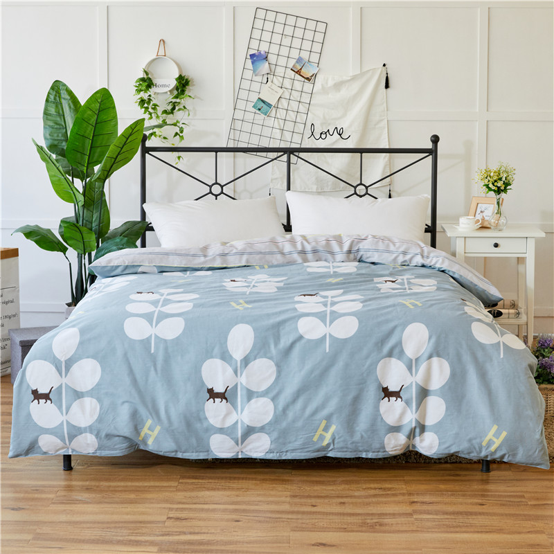 Light Blue + White Print Pattern Home Textile 1Pc Duvet Cover Quilt Cover Flower 100% Cotton Adult Summer Autumn Bedding 6 Size