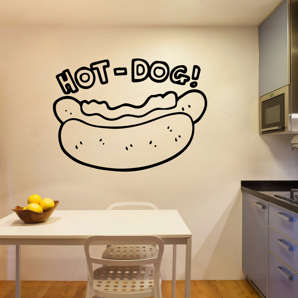Hot Sale hot dog Stickers Home Decoration Nordic Style Restaurant Vinyl Wall Decals Room