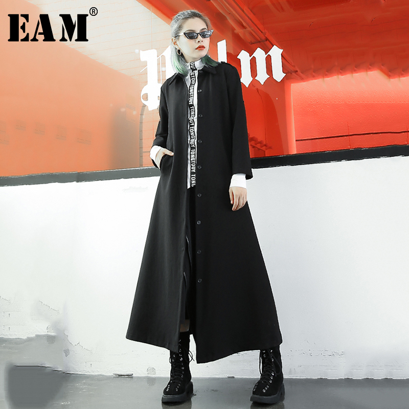 [EAM] 2019 Autumn Winter Trendy New Chinese Style Improvement Type Loose Big Size Coat Women Tide Solid Color Jacket YA35401