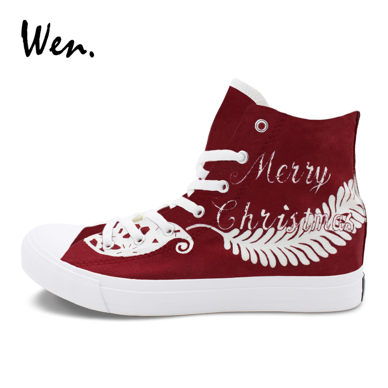 48ae8d2c0 Wen Original Design Red Painting Sneakers Merry Christmas Theme Pattern  Hand Painted Canvas Shoes for Men Women Laced Plimsolls